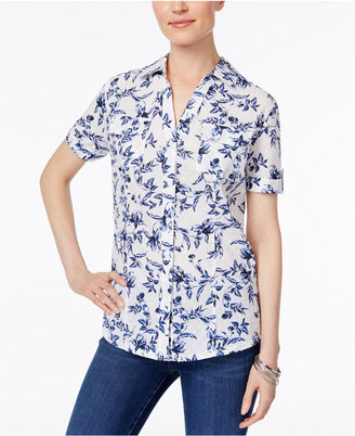 Karen Scott Printed Cotton Shirt, Created for Macy's $39.50 thestylecure.com