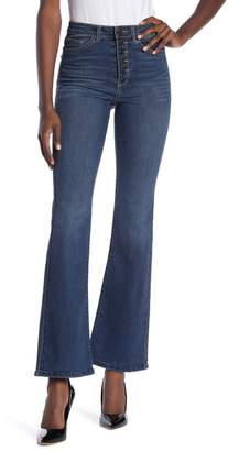 Jolt Exposed Button Flare Leg Jeans