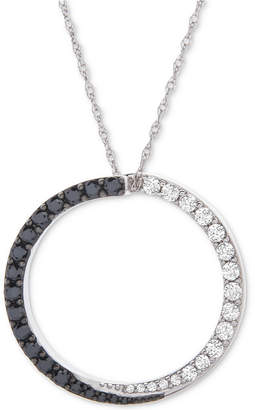 """Wrapped in Love Diamond Circle 18"""" Pendant Necklace (1/2 ct. t.w.) in 14k White Gold"""