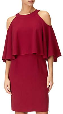 Adrianna Papell Textured Crop Cold Shoulder Dress Petite, Cranberry