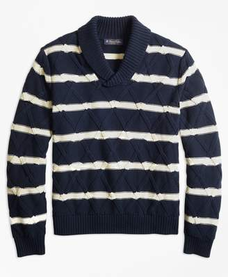 Brooks Brothers Nautical Stripe Shawl Collar Sweater