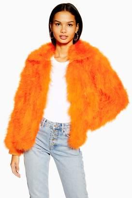 Topshop Womens Marabou Jacket - Orange