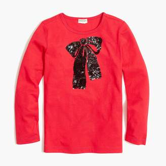 J.Crew Girls' long-sleeve sequin bow graphic T-shirt