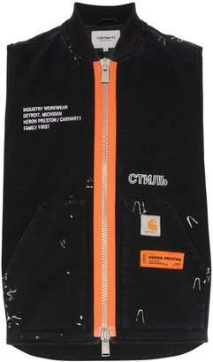 Carhartt Heron Preston contrasting zip sleeveless bomber jacket