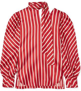 Silvia Tcherassi - Juliette Striped Silk-blend Satin Blouse - Red