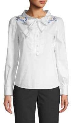 Love Moschino Embroidered Quarter-Zip Top