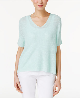Eileen Fisher Organic Linen-Cotton High-Low Top $148 thestylecure.com