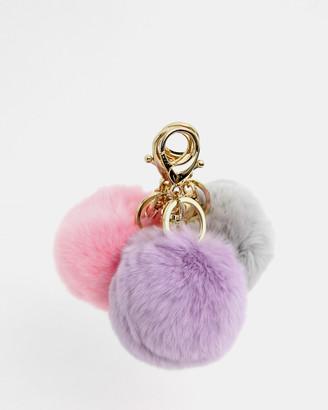 Belle & Bloom Faux Fur Pom Pom Key Ring 3 Pack