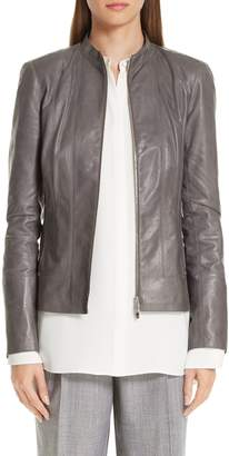 Lafayette 148 New York Sadie Glazed Lambskin Leather Jacket