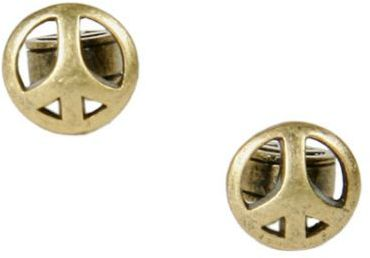 Peace Sign Gold Stud Earrings
