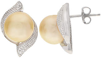 Generic Pearls Silver 0.17 Ct. Tw. Topaz & 10-11Mm South Sea Pearl Earrings