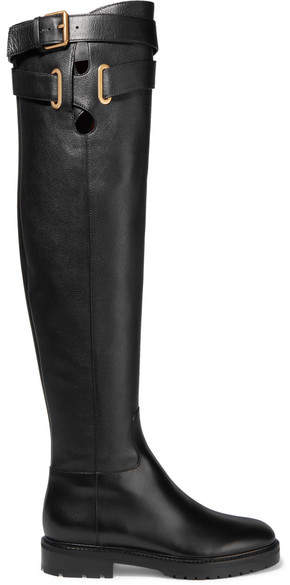 Valentino - Leather Over-the-knee Boots - Black