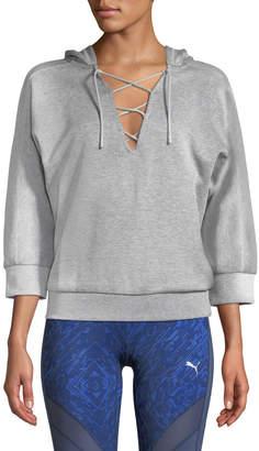 Puma Yogini 3/4-Sleeve Lace-Up Hoodie