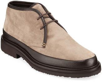 Ermenegildo Zegna Men's Trivero Suede & Leather Chukka Boots