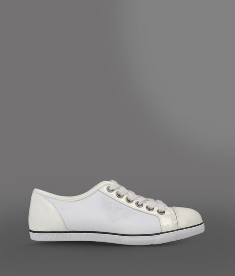 Emporio Armani Sneaker In Technical Fabric With Calfskin Detailing