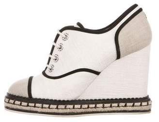 Chanel Tweed Wedge Booties