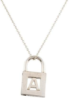 Tiffany & Co. Letter A Lock Charm Pendant Necklace