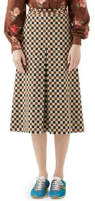 Gucci Leather Trim Pleated Skirt