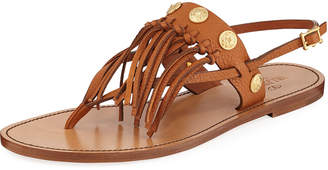 Valentino Flat Fringed Leather Sandals