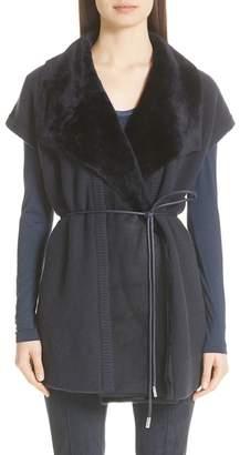 Lafayette 148 New York Shearling Trim Wool & Cashmere Vest