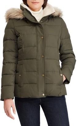 Lauren Ralph Lauren Down Puffer Jacket with Faux Fur Trim