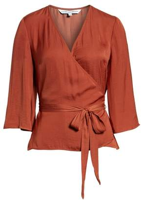 Cupcakes And Cashmere Gabriele Hammered Satin Wrap Top