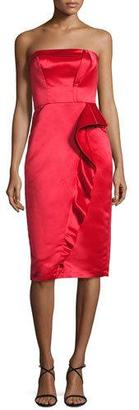 Parker Strapless Ruffle-Trim Satin Cocktail Dress, Scarlet $385 thestylecure.com