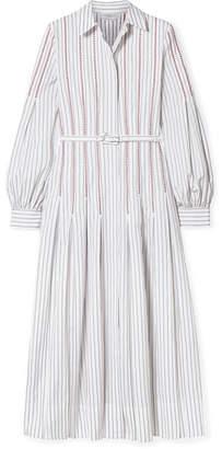 Gabriela Hearst Chelsea Belted Embroidered Cotton-poplin Midi Dress - White