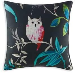 Trellis Blooms Owl Square Throw Pillow