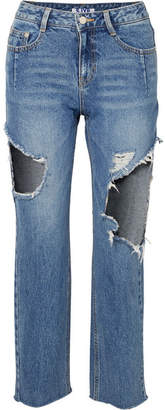 Sjyp Cropped Distressed Mid-rise Straight-leg Jeans - Mid denim