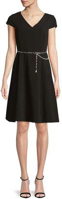 Karl Lagerfeld Paris Women's Chain Belted A-Line Dress