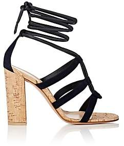 Gianvito Rossi Women's Cayman Leather & Suede Ankle-Tie Sandals - Denim
