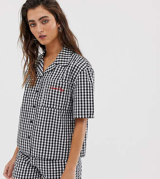 Santa Cruz gingham shirt with embroidered logo co-ord
