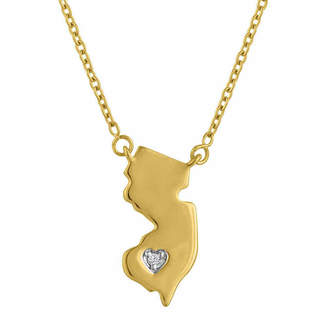 FINE JEWELRY Diamond Accent 14K Yellow Gold over Silver New Jersey Pendant Necklace