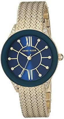Anne Klein Women's AK/2208NVGB Swarovski Crystal Accented Gold-Tone Mesh Bracelet Watch