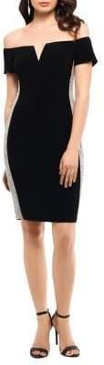 Xscape Evenings Embellished Off-The-Shoulder Sheath Dress