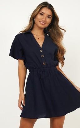 5ee093421750 Showpo Brunch Dress in navy linen look Casual Dresses