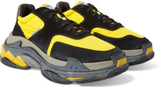 Balenciaga Triple S Nylon, Nubuck and Leather Sneakers - Men - Yellow