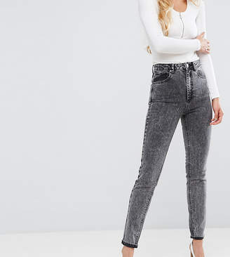 Asos Tall TALL FARLEIGH High Waist Slim Mom Jeans in Moon Black Acid Wash with Busted Knees