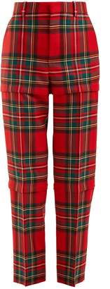 Balenciaga Tartan high-rise tapered-leg wool trousers