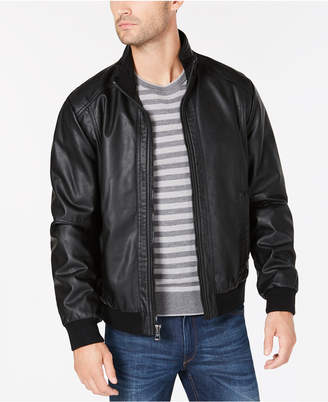 Calvin Klein Men Faux Leather Bomber Jacket