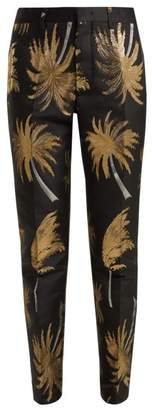 MSGM Palm Tree Metallic Jacquard Satin Trousers - Womens - Black Gold