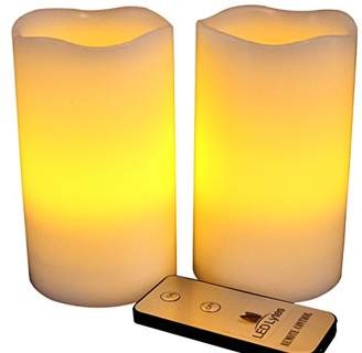 LED Lytes Flameless Candles Flickering - 2 Ivory Wax Amber Yellow Flame Pillars Battery Operated Candles with Remote for Parties