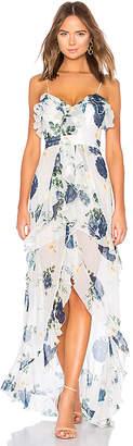 Nicholas Blue Rose Frill Maxi Dress