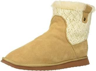 Dearfoams Women's Suede Mixed Material Short Boot Knit Slipper