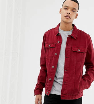 687bf9bd37a Asos Design DESIGN Tall denim jacket in red