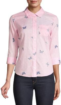 Karen Scott Petite Printed Cotton Button-Down Shirt