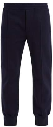 Alexander McQueen Tapered Cotton Blend Track Pants - Mens - Navy Multi