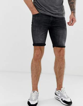 d7353fbe87 Jack and Jones Intelligence skinny fit denim shorts in washed black