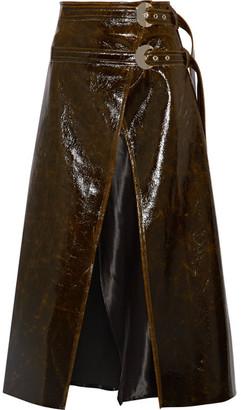 Beaufille - Pistol Satin-trimmed Coated Wool-blend Wrap Midi Skirt - Dark brown